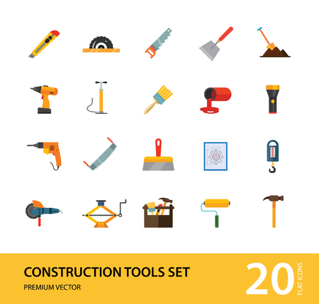 Construction tools icon set. Saw, hammer, drill, screwdriver, toolbox. Renovation concept. Can be used for topics like interior decoration, construction site, DIY store