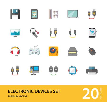 Zestaw ikon urządzeń elektronicznych. Smartfon, laptop, aparat fotograficzny, drukarka, procesor, serwer. Koncepcja technologii informacyjnej. Może być używany do tematów takich jak sprzęt, inteligentna technologia, komunikacja danych Ilustracje wektorowe