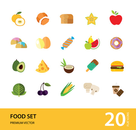 Food icon set. Broccoli, fruit, doughnut, cheese, cappuccino. Eating concept. Can be used for topics like cafe, menu, food store Vector Illustratie