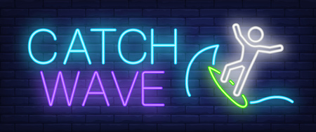 Catch wave neon sign. Man on surfboard on brick background. Surf club, surfing, hobby, Night bright advertisement. Vector illustration in neon style for sport, vacation, leisure Illustration