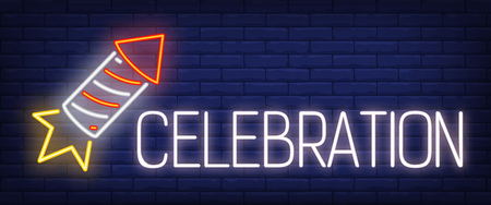 Celebration neon sign. Firecracker on brick background. Party, New Year, pyrotechnics. Night bright advertisement. Vector illustration in neon style for holiday, celebration, festival