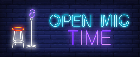 Open mic time neon text with microphone and stool. Show invitation advertisement design. Night bright neon sign, colorful billboard, light banner. Vector illustration in neon style.