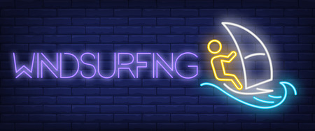 Windsurfing neon sign. Man training with sail. Extreme sport, summer resort, hobby. Night bright advertisement. Vector illustration in neon style for activity, recreation, vacation Banco de Imagens - 110575658