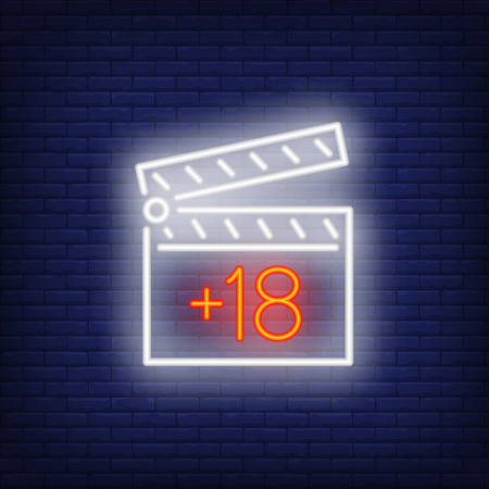 Filming porn neon sign. Luminous signboard with clapper. Night bright advertisement. Vector illustration in neon style for production, entertainment