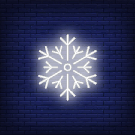 White snowflake neon sign. Luminous signboard with ice crystal. Night bright advertisement. Vector illustration in neon style for precipitation, condensation