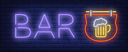Bar neon sign. Glowing inscription with outdoor sign with mug of beer on brick wall background. Vector illustration can be used for night clubs, advertisement, bars