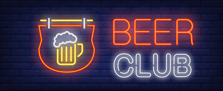 Beer club neon sign. Glowing neon inscription with neon outdoor sign with beer cup on dark blue brick background. Can be used for night advertisement, pubs, clubs