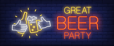 Great beer party neon sign. Glowing inscription with bottle and beer cup in human hands on dark blue brick background. Can be used for advertisement, parties, night clubs
