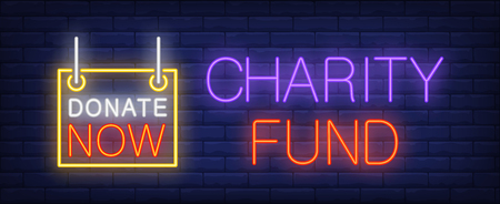 Charity fund neon sign. Glowing inscription with donate now sign on dark blue brick background. Can be used for charity organizations, support websites, online banners