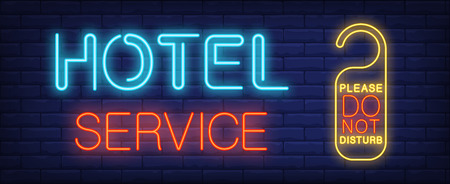 Hotel service neon sign. Glowing inscription with do not disturb sign for door in hotel. Can be used for advertisement, hotels, hotel services