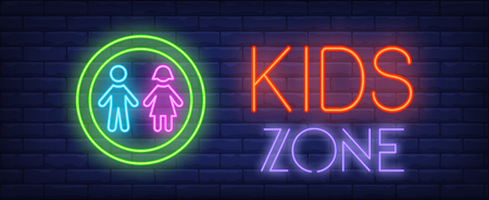 Kids zone neon sign. Glowing neon inscription with figures of girl and boy in green circle on dark blue brick background. Can be used for kids zone, advertisement, playing centers Vecteurs