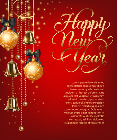 Happy New Year lettering with sample text and baubles. Christmas greeting card. Handwritten text, calligraphy. For leaflets, brochures, invitations, posters or banners.