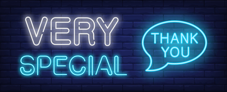 Very special thank you neon sign. Glowing neon inscription with thank you speech bubble on dark blue brick background. Can be used for postcards, banners, web sites