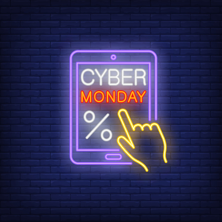 Cyber Monday with percent mark neon sign. Inscription on screen of tablet with percent mark and hand. Can be used for topics like online, web, advertisement, sale, seasonal sale