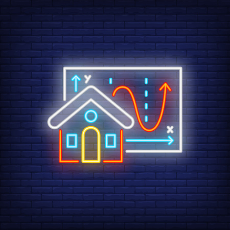 House building and graphic diagram neon sign. Illustration of house and diagram on dark blue brick background. Can be used for topics like building, house, realty