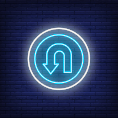 Reversal road neon sign. Glowing illustration of circle road sign with reversal arrow on blue brick background. Can be used for roads, road works, warnings