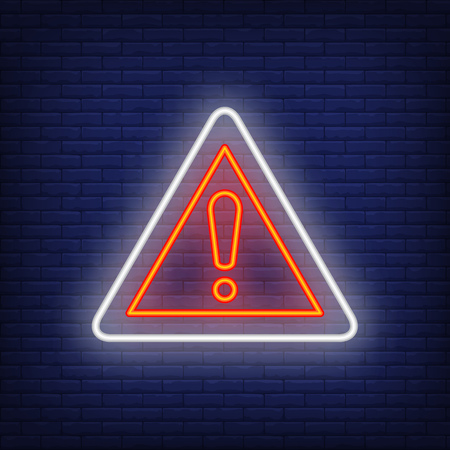 Warning road neon sign. Glowing illustration of triangle road sign with exclamation mark on blue brick background. Can be used for roads, road work, warnings