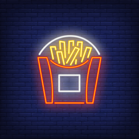 French fries neon sign. Glowing illustration of French fries box on dark blue brick background. Can be used for fast food cafe, shops, night advertisement