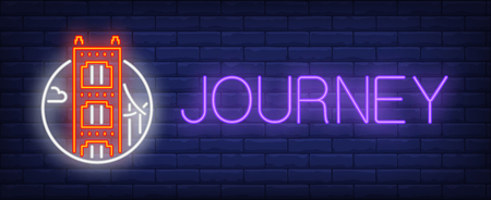 Journey neon sign. Golden gate bridge in circle on brick wall background. Vector illustration in neon style for travel ads and billboards 일러스트