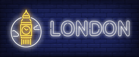 London neon sign. Big ben in circle on brick wall background. Vector illustration in neon style for travel signs and billboards