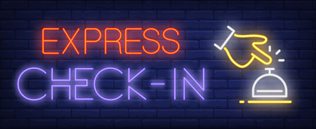 Express check-in neon sign. Glowing inscription with hand and table bell on dark blue brick background. Can be used for hotel services, hospitality, check-in, front hotel desk
