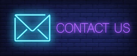 Contact us neon sign. Glowing inscription with blue neon envelope on dark blue brick background. Can be used for business, e-mailing, advertisement, communications