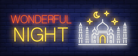 Wonderful night neon sign. Taj Mahal, crescent and stars on brick wall background. Vector illustration in neon style for travel ads and signboards 일러스트