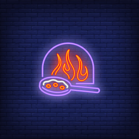 Firewood oven and pizza in pan neon sign. Pizzeria advertisement design. Night bright neon sign, colorful billboard, light banner. Vector illustration in neon style.
