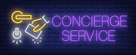 Concierge service neon sign. Glowing inscription with door handle, hand with electronic key on dark blue brick background. Can be used for concierge service, hospitality, advertisement Vettoriali