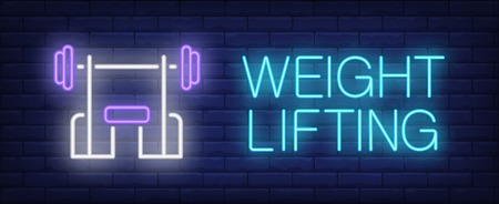 Weight lifting neon sign. Glowing inscription with incline bench on dark blue brick background. Can be used for fitness centers, body building, advertisement 일러스트