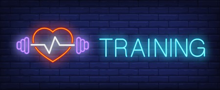 Training neon sign. Glowing inscription with heart, pulse and barbell on dark blue brick background. Can be used for topics like advertisement, fitness centers, gym clubs Иллюстрация