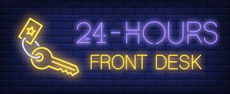 Twenty four hours front desk neon sign. Glowing inscription with key on dark blue brick background. Can be used for hotels, information desk, room service