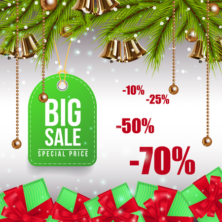 Big Christmas Sale colorful coupon design. Green tag for clothes with green fir tree branches, green gifts with red bows on gray background. Can be used for discounts, sales, advertisement