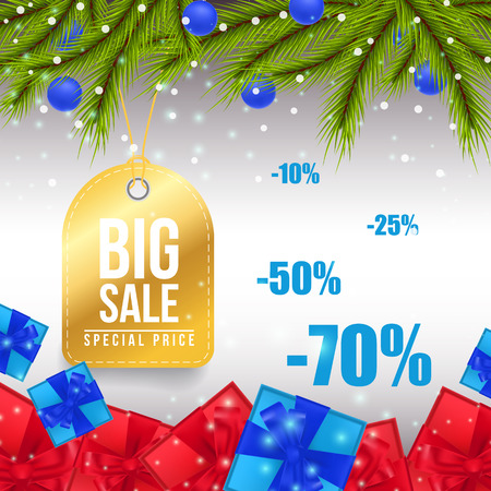 Big Christmas Sale coupon design. Golden tag for clothes with fir tree, red and blue gifts on gray background. Can be used for sales, advertisement, discounts Vector Illustration