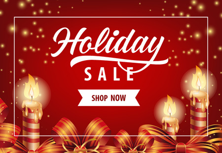 Holiday Sale with candles poster design. Calligraphy with candles, ribbons on red background with confetti. Can be used for sales, discounts, coupons