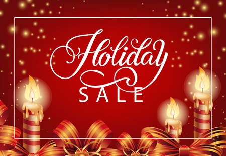 Holiday Sale with festive candles coupon design. Calligraphy with candles, bands and sparkles on red background. Can be used for coupons, sales, discounts Vector Illustration