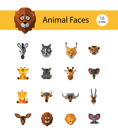 Animal Faces Icon Set. Lion Zebra Hippo Giraffe Wolf Elephant Antelope  Meerkat Doe Ox Red Lynx Bull Head Snout Muzzle Face