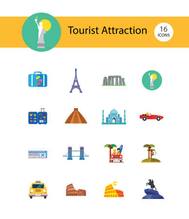 Tourist attraction icons set. Thirteen vector icons of Eiffel Tower, Big Ben, Pyramids and other tourist attractions Ilustração