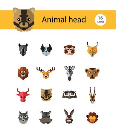 Animal head vector icon set. Cute wild cartoon animals, bear, monkey, lion, elephant, fox. Wildlife concept. Can be used for topics like mammals, zoo, safari, nature Stock Vector - 114348687