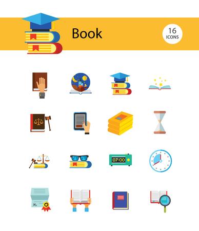 Jeu d'icônes de livre. Pile de livres loupe cahier dans les mains étagère à lunettes livre ouvert livre ouvert contes pour enfants signet Science livre audio