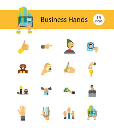 Business Hand Icon Set. Thumb Up Press Button Pointing Finger Writing Raising Hands Palm Hand With Key Phone Puzzle Briefcase Banknotes Magnifier Partnership Handshake 向量圖像