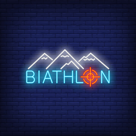 Biathlon neon sign. Glowing inscription with white mountains on dark blue brick background. Can be used for sport, games, winter games Çizim