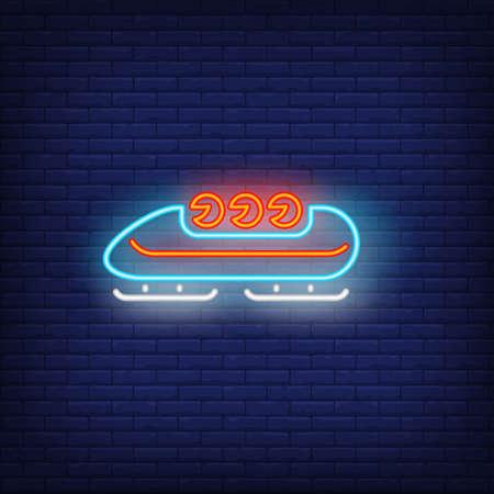 Bobsleigh neon sign. Glowing bob with sport team on dark blue brick background.