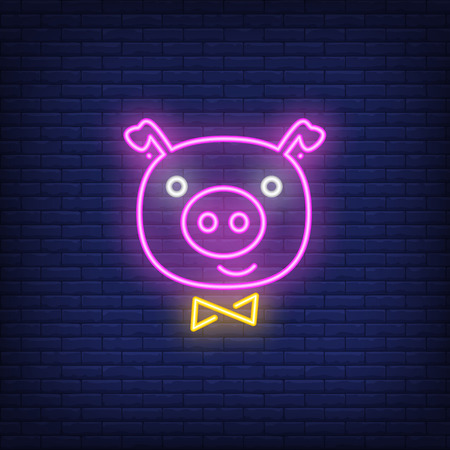 Piggy face neon sign. Glowing piggy face with ribbon on dark blue brick background. Can be used for christmas, new year, advertisement Illustration