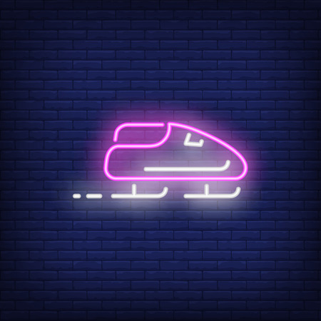 Purple sleigh neon sign. Glowing sleigh with sport team on dark blue brick background. Can be used for sport, winter games Illustration