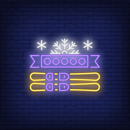 Ski neon sign. Glowing illustration of ski equipment and snowflake on dark blue brick background. Can be used for sport, games, winter games Çizim