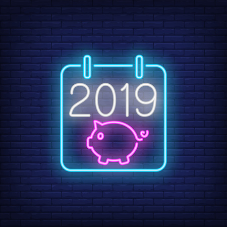 New Year calendar neon sign. Glowing calendar cover with number and piglet on dark blue brick background, Can be used for calendar, new year, Christmas, advertisement