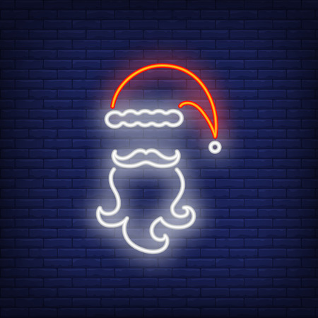 Santa Claus beard and cap neon sign. Glowing beard, mustache and cap on dark blue brick background. Can be used for winter, christmas time, festive