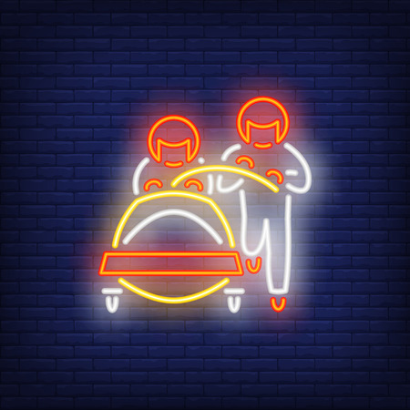 Two sledders neon sign. Glowing sportsmen on dark blue brick background. Can be used for sport, winter games
