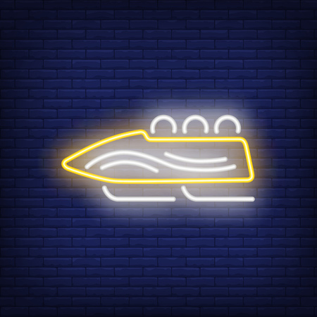 Yellow sleigh neon sign. Glowing sleigh with sport team on dark blue brick background. Can be used for sport, winter games Illustration